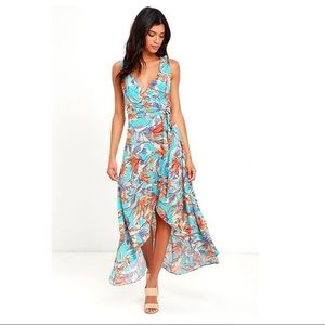 Turquoise tropical flower wrap dress - size XS